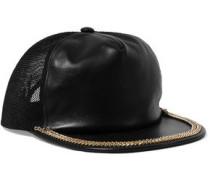 Mesh-paneled embellished leather cap