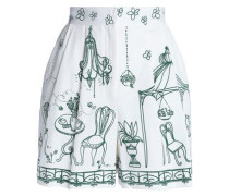 Pleated printed cotton-blend twill shorts