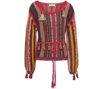 Pullover aus Einer Baumwoll-leinen-seidenmischung mit Troddeln