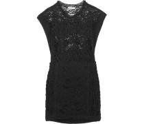 Floa Crochet-knit Cotton-blend Mini Dress Schwarz