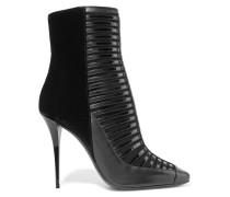 Paneled Leather, Nubuck And Velvet Ankle Boots Schwarz