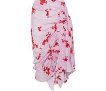 Mertilda Asymmetric Floral-print Crepe De Chine Skirt