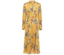 Printed Satin Midi Shirt Dress