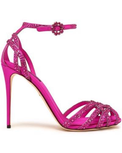 Crystal-embellished Silk-satin Sandals Bright Pink