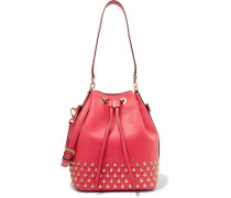 Dottie Medium Studded Leather Bucket Bag Korall