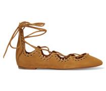Leo Lace-up Embellished Suede Ballet Flats Braun