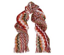 Chevron-knit Wool-blend Scarf Burgunder