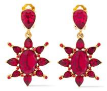 Gold-tone Crystal Clip Earrings