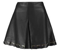 Whipstitched Leather Mini Skirt Schwarz