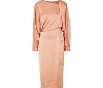 Draped cutout silk-satin midi dress