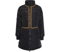 Embellished quilted shell down coat