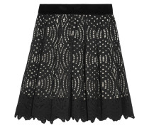 Corded Lace Mini Skirt Schwarz