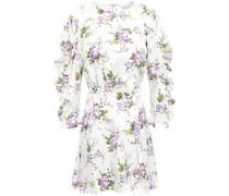 Woman Cutout Ruffle-trimmed Floral-print Silk-satin Mini Dress White