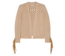Maddie Faux Suede-trimmed Knitted Cardigan Beige