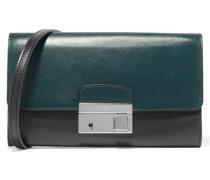 Gia Two-tone Leather Clutch Petrol