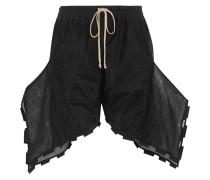 Asymmetric Cotton-blend Mesh Shorts Schwarz