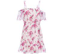 Cold-shoulder Gathered Floral-print Chiffon Mini Dress