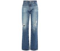 Hoch Sitzende Jeans mit Geradem Bein in Distressed-optik