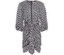 Draped Gathered Polka-dot Stretch-silk Satin Mini Dress