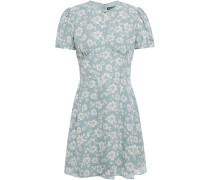 Woman Floral-print Crepe Mini Dress Sky Blue
