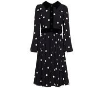 Velvet-trimmed Button-embellished Polka-dot Crepe Shirt Dress
