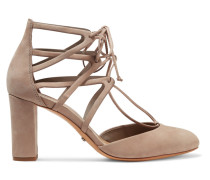 Arya Lace-up Suede Pumps Taupe