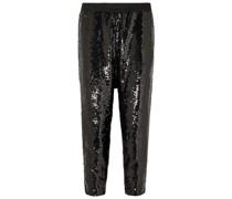 Delancy Cropped Track Pants aus Crêpe mit Pailletten