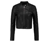 Quilted Leather Biker Jacket Schwarz