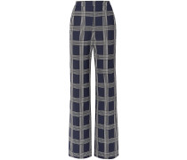 Woman Checked Twill Wide-leg Pants Navy