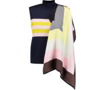 Silk-blend Satin-paneled Striped Stretch-knit Sweater Mitternachtsblau