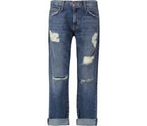 The Boyfriend Distressed Low-rise Boyfriend Jeans Dunkler Denim