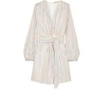 Banks Belted Metallic Striped Jersey Mini Dress