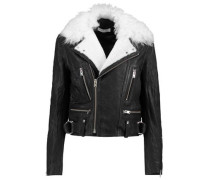 Shearling-trimmed leather biker jacket