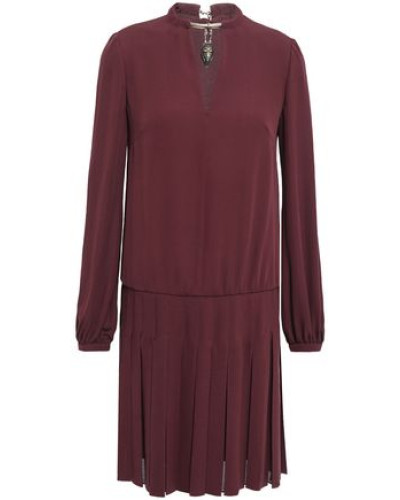 Woman Cutout Pleated Embellished Silk Mini Dress Burgundy