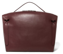 Hill Contrast-stitched Leather Tote Braun
