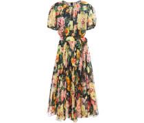 Belted Floral-print Silk-chiffon Dress