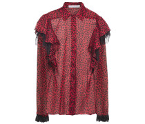Lace-trimmed Ruffled Leopard-print Voile Shirt