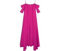 Poppies Cold-shoulder Satin-crepe Midi Dress