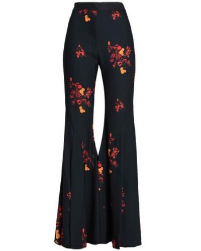 Floral-print Crepe Flared Pants Black