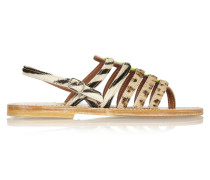 Calf Hair And Neon Patent-leather Sandals Zebra-Print