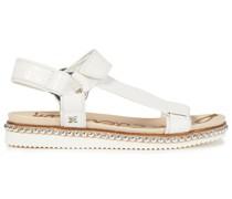 Sandalen aus Leder mit Krokodileffekt mit Nieten