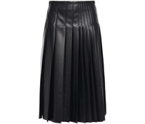 Pleated Perforated Faux Leather Midi Skirt