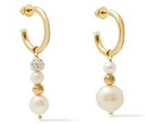 Birch 24-karat -plated, Freshwater Pearl And Crystal Earrings