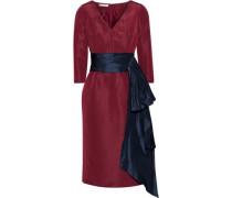Bow-embellished Silk-faille Dress Burgundy