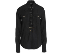 Lace-up cotton-poplin shirt