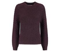 Monroe Paneled Textured-knit Sweater Brombeere