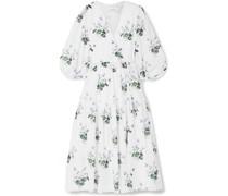 Ruffle-trimmed Floral-print Cotton-voile Wrap Dress