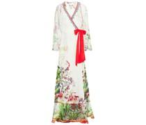 Chiffon-paneled Crystal-embellished Floral-print Silk Crepe De Chine Maxi Wrap Dress