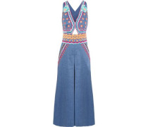 Spellbound embroidered linen-blend chambray jumpsuit