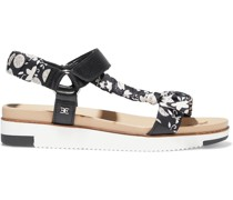 Ashie Floral-print Satin-twill And Leather Platform Sandals